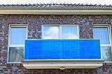Jinju Blau 0,9 x 9 Meter PE Balkonsichtschutz, Balkonverkleidung, Windschutz, Sichtschutz und UV-Schutz für Balkon, Gartenanlagen, Camping und Freizeit