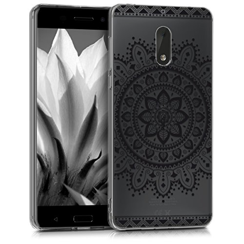 kwmobile Hülle für Nokia 6 (2017) - TPU Silikon Backcover Case Handy Schutzhülle - Cover klar Aztec Blume Design Schwarz Transparent