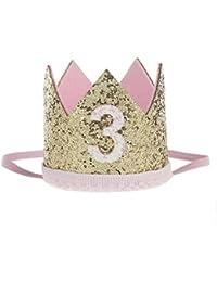 Malloom Bebé Lentejuelas Cumpleaños Sombreros de corona, Diademas de flores elástico (3)