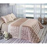 Algodón Blanco Nani - Colcha bouti jacquard, para cama de 135 cm, 235 x 270 cm, 2 fundas de cojín, 60 x 40 cm, color rosa