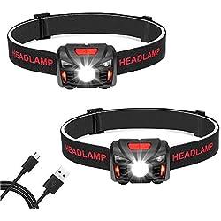 Linkax Lot de 2 lampes frontales LED rechargeables par USB pour la course à pied, la pêche, le camping, la randonnée