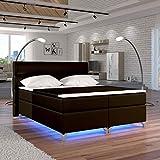Moebel89 Boxspringbett Amadeo in braun mit LED, Farbe wie abgebildet 180cm x 200cm/Bett, Doppelbett, Hotelbett, Gästebett als Boxspringbett mit Federkern mit Schaumpolsterung