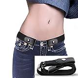 AOLVO Stretch-Gürtel ohne Schnalle für Damen/Herren, ohne Schnalle, elastischer Gürtel für Jeans, Hosen, Kleider, unvisobler Gürtel, kein Ausbauen, kein Ärger Schwarz