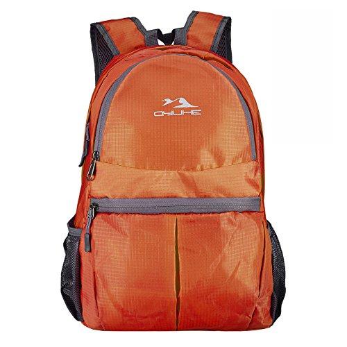 Qyuhe® Ultra leichter zusammenklappbarer Rucksack Outdoor Wanderrucksäcke Trekkingrucksäck Reiserucksäck Orange