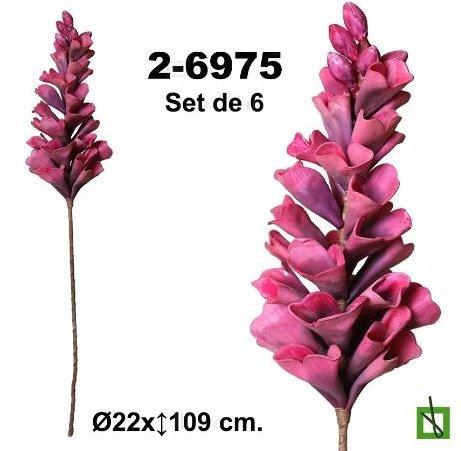 Set de 6 flores de foamy en color violeta