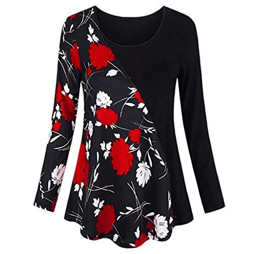 VEMOW Sommer Herbst Elegant Damen Oberteil Langarm O Neck Printed Flared Floral Beiläufig Täglich Geschäft Trainieren Tops Tunika T-Shirt Bluse Pulli(Y2-Rot, EU-44/CN-XL)