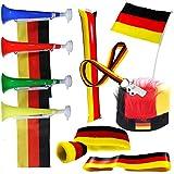 SchwabMarken Handball WM Weltmeisterschaft Tröte Horn Fahne Flagge. Viele Verschiedene Fanartikel Sets Trompete, Tröte, Ballons, Trillerpfeife, Armband, Stirnba