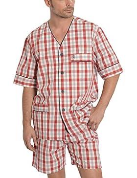 El Búho Nocturno Pijama de Caballero Corto clásico a Cuadros/Ropa de Dormir para Hombre - Tela Popelín, 60% algodón...