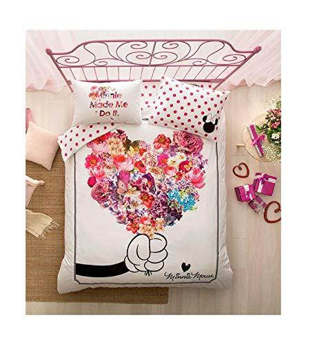 TI Home Ti-Minnie Maus, Blumen, die gerne Muttertag Bettbezug-Set, 100% reine Baumwolle, doppelte Größe, 4-pieces Luxus-Bettwäsche-Set (Minnie Voller Größe Bettwäsche-set)