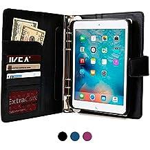 Funda para Apple iPad Mini 4 con cuaderno, COOPER FOLDERTAB Carcasa tipo cartera con planificador, libreta y bolsillos para zurdos y diestros (Negro)