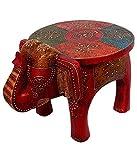 #8: Bagru Crafts Wooden Elephant Stool Handicraft (17.78 cm x 12.7 cm x 24.13 cm,HCF304)
