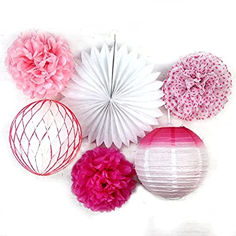 Lot de 6 Série Rose Fuchsia Blanc Fleur Pompon de Papier Boule Alvéolé Rosace et Lanterne pour Decoration Mariage Saint
