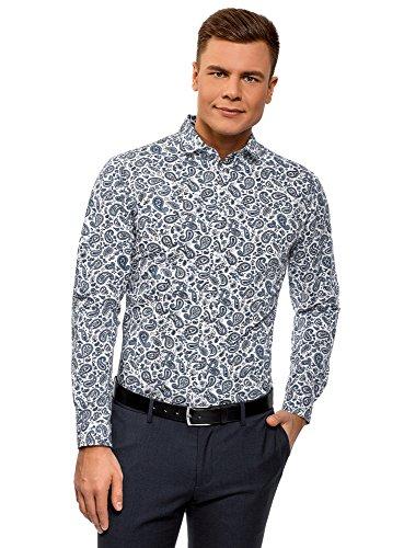 oodji Ultra Herren Baumwoll-Hemd mit Paisley-Muster, Blau, Herstellergröße 42 (Kragenweite 42 cm)/ DE 42 / L -