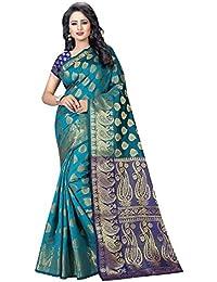 Indian Fashionista Women's Banarasi Silk Rich Pallu Saree With Blouse Piece
