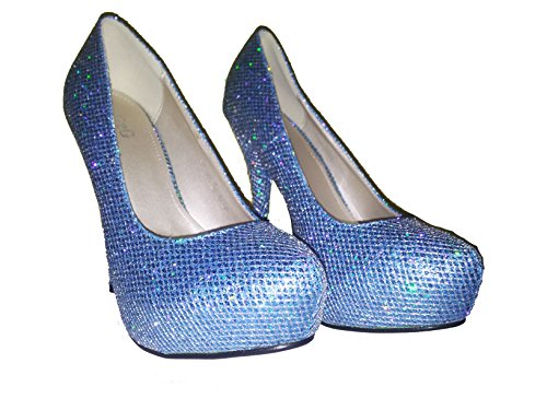 Tacco alto, Stiletto Pumps High Heels, scarpe da donna, modello 1101400102001037, rosso, argento, oliva, azurro e oro, modelli e numeri differenti. Azurro.