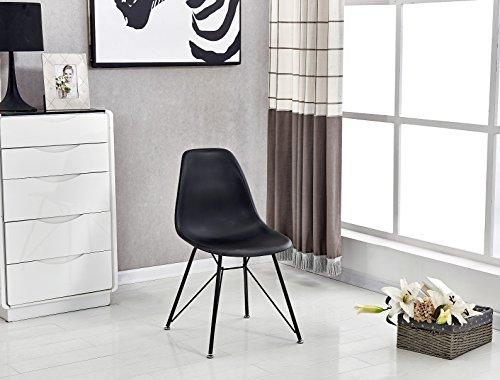 P & N Homewares® Valentina Eiffelturm inspiriert Stuhl aus Kunststoff Retro Weiß Schwarz Grau Esszimmerstuhl Büro Stuhl Lounge Black with Black - Moderner Kunststoff-stuhl