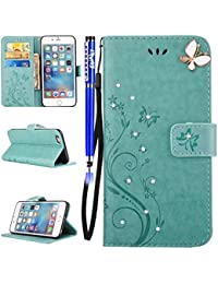 EUWLY iPhone 6 Plus/6S Plus Wallet Case,iPhone 6 Plus/6S Plus Flip Case Leather,Bling Bling Glitter Shinny Luxury Diamond Leather Folio Case Cover Protective Sleeve for iPhone 6 Plus/6S Plus Butterfly Embossed Bookstyle Folio Cover with Hand Strap Ultra Slim Anti-Shock Anti-Scratch Flip Folio Case with [Kickstand] [Card Slots] [Magnetic Closure] for Apple iPhone 6 Plus/6S Plus + 1 x Stylus Pen - Green