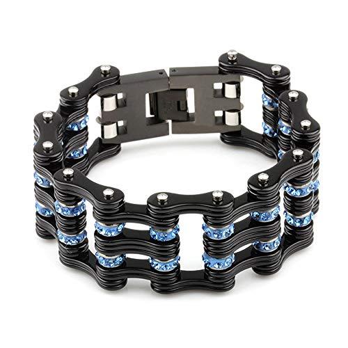 YOLANDE 25mm Herren Titan Stahl verdickt Fahrradkette Armband blau schwarz