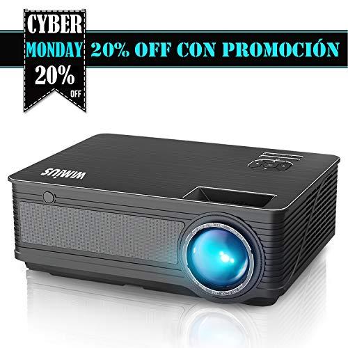 """Proyectores, WiMiUS P18 4000 Lúmenes 5.8"""" LCD Proyector de Video con 200"""" Pantalla, Soporta Full HD 1080P, Contraste 4000:1, 50000 Horas, con el Interfaz HDMI/ USB/ VGA/ AV/ TF Negro"""