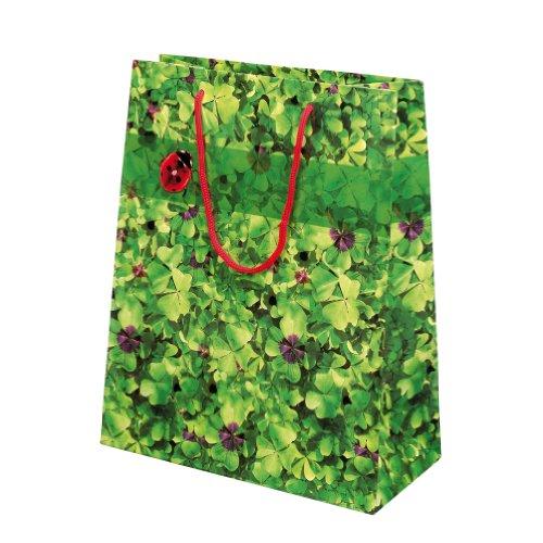 Susy Card 11277597 Geschenktaschen, 10-er Packung, glänzendes Papier, Motiv Glücksklee 2