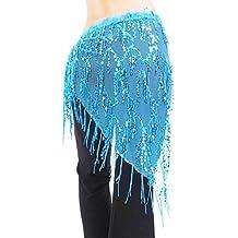 Velo Cara de Malla Bufanda De Cadera Triángulo De Lentejuelas Danza Vientre Dama De Borla - Azul, Cintura: Approx.150cm