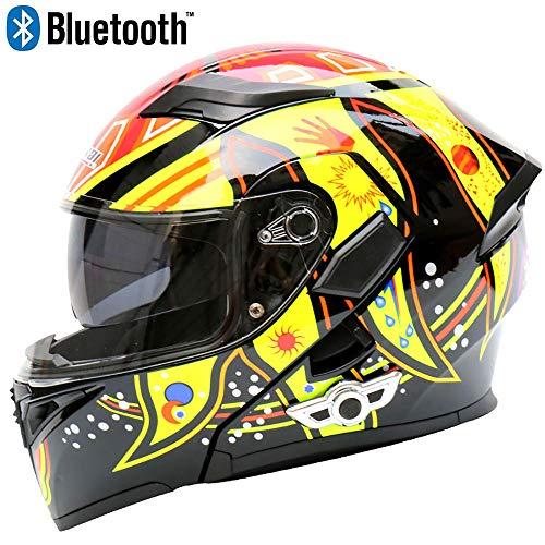 JohnnyLuLu Casco modulare Smart Bluetooth per Motociclisti con Doppio Specchio antiappannante, caschi integrali integrati con Visiera Integrata D.O.T,B,XL