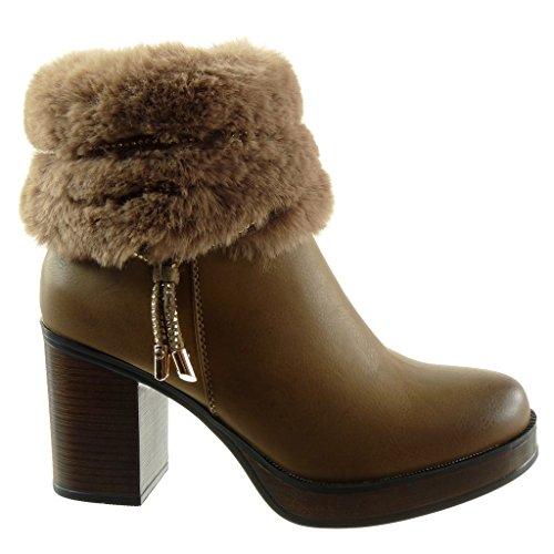 Angkorly Damen Schuhe Stiefeletten - Reitstiefel - Kavalier - Plateauschuhe - String Tanga - Schmuck Blockabsatz High Heel 8.5 cm Khaki