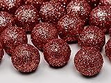 25 Glitzer Dekokugeln Dekobälle rot 2 cm - Weihnachten - Hochzeit