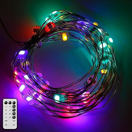GEYUEYA Home LED Lichterkette, LED String Licht 10m Silbernedraht 100 Leds Stimmungslichter mit Fernbedienung 8 Modi Wasserdicht für Innen Außen Party Weihnachtsbaum Hochzeit Deko(Bunt und Warmweiß) (Hochzeit Lichter 10 Meter)