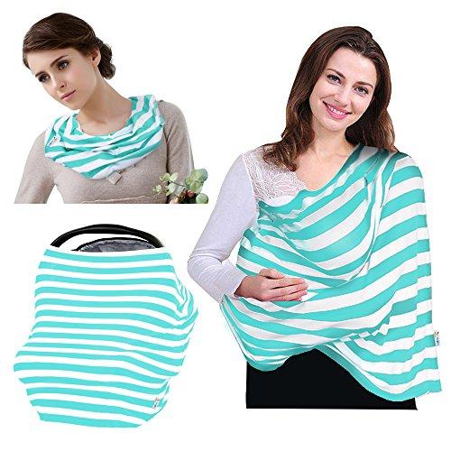 VICIVIYA Stilltuch Stillschal Stillcape Stillen Abdeckung aus hochwertige Baumwolle Grünß-Weiß Streifen lässig &elastisch -Ideal für Unterwegs (Verpackung Knitterfrei)