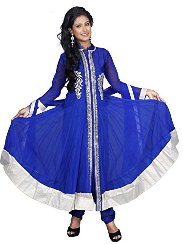 Sharmili Blue Latest Designer Anarkali Embroidered Net Salwar suit for women, Matching Churidar & Dupatta, ( stitched ),L / XL size,Chinese CollarDaily wear / Party Wear By Zenith Garments  available at amazon for Rs.1995