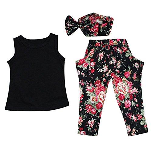 Le SSara Ragazze alla moda di estate delle 2 parti vestiti regolati Outfits: Pantaloni Top (3 Pezzi Bambino Outfit)