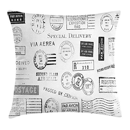 VVIANS Black and White Throw Pillow Cushion Cover, Nineteen Different Postal Marks Special Delivery Postage Mail Theme, Decorative Square Accent Pillow Case, 18 X 18 Inches, Black Grey White