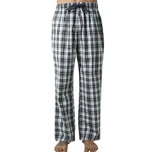 Männer Schlafhose Tartan-karierte Hosen Lange Lounge Schlafanzughosen (XXL, Braun Plaid) (Plaid Lounge Rot)