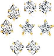 Sukkhi Fancy Gold Plated Cubic Zirconia Set of 4 Stud Earring Combo for Women (341CB1000)