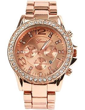 GENEVA Luxus-Legierung Diamant-Uhr mit Kalender Rose Gold