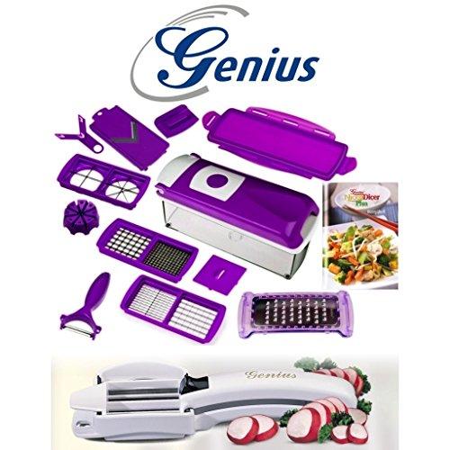 Genius, set tagliaverdure nicer dicer, colore lilla, + tagliatutto c1,14pezzi