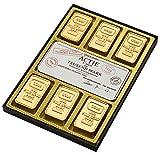 CPW-Confiserie Peter Weibler |Edle Schokoladen-Täfelchen als Wertpaket | Stilvolles Wertpaket mit einer Aktie und sechs Goldbarren aus feinster Vollmilchschokolade | 180 g Packung