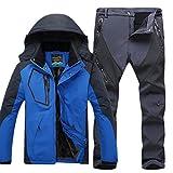Uomo Giacca impermeabile e Pantaloni da Escursionismo Sport All'Aperto Anti-Vento CaiBlu G L