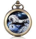 Infinite U Montre de poche mécanique avec photo cadran blanc chiffre romains en alliage le cheval galopant deux chaînes pour femme homme...