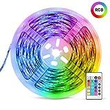 Striscia LED RGB, Strisce LED,TECKIN 5M LED TV Retroilluminazione Striscia,RGB 5050 Luce con 16 Colori,Con telecomando a infrarossi, Adatto per TV, Camera da Letto, Feste e Decorazioni per la Casa