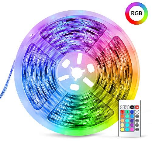 Tira LED decoracion de luces TECKIN, 5M RGB con 150 LED multicolor 5050 iluminación para casa, fiestas, bares y exteriores.Con control remoto y 12V 2A fuente de alimentación, eficiencia energética.