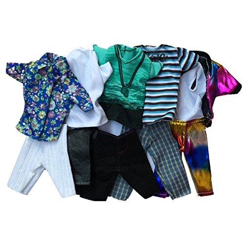 ,Beetest 5 Sätze Mode Freizeitkleidung Puppe Kleidung Jacke Hosen Outfits Zubehör für Männer Junge Ken Barbie Puppen Kinder Geburtstag Weihnachten Geschenk Gelegentliche Stil (Barbie Geburtstags-outfit)
