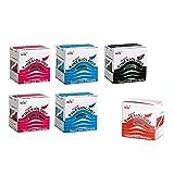 6er 2x blau 2x pink 1x rot 1x schwarz NASARA Kinesiologie Tape kinesiologische Tapes im Set * 5m x 50mm