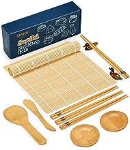 Sushi Making Kit, STNTUS Sushi Mat, Bamboo Sushi Roller Mat, Sushi Kit Gift Set, Sushi Making Kit for Beginners, Bamboo Sushi Rolling Mats, Chopsticks and Holder, Paddle, Speader, Sause Dish, 12 Pcs