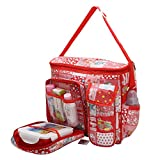 #7: Nappy Diaper Bag Baby Carry Bags Mummy Mother Bag Multipurpose Multi Compartment by Indi Bargain (Red)