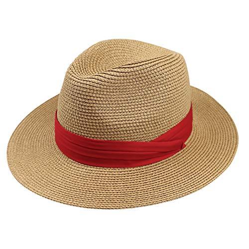 DRESHOW Damen Stroh Panama Hut Fedora Beach Sonnenhut Wide Brim Straw Roll up Hat UPF 50+