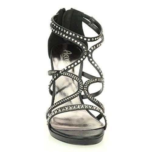 Femmes Dames Soir Casual Mariage Party Haute Talon Stiletto Diamante Peep Toe De Mariée Sandale Chaussures Taille (Or, Argent, Noir) Noir