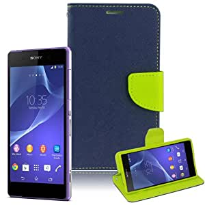 PT-SONYM2-B03 First2savvv blue PU leather case pouch cover for sony xperia M2