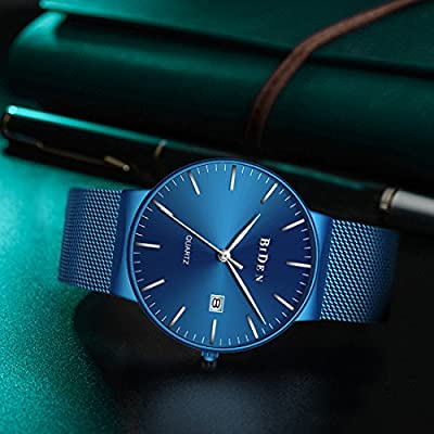 Watches,Men's Fashion Slim Minimalist waterproof Watch stainless steel Analogue Quartz watches Date with Blue Mesh Band